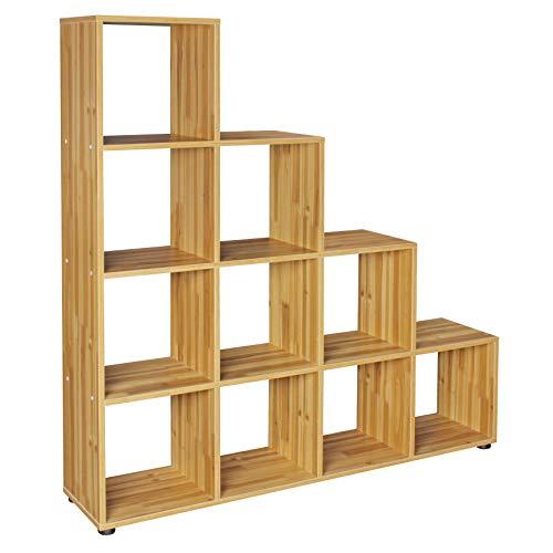 FineBuy Stufenregal Lucia Buche Treppenregal für Ordner & Bücher 10 Fächer Holz | Design Raumteiler Regal | Modernes Aktenregal | Bücherregal -