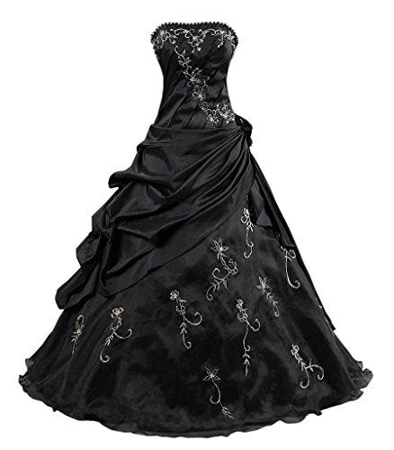 Kmformals Damen Ballkleid trägerlosen Prom Kleider Abendkleidung Größe 60 Schwarz