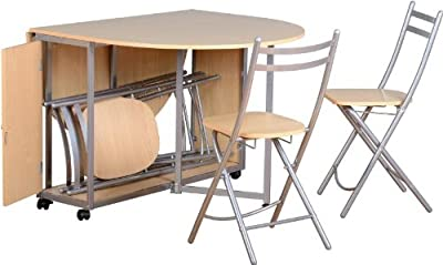 Beech and Silver Compact Extending Dining Set