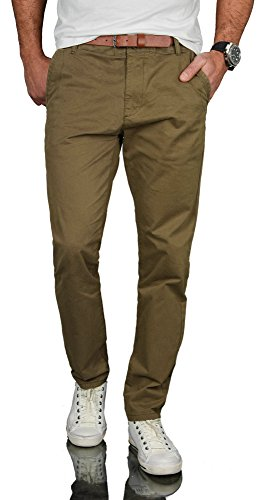 A. Salvarini Herren Designer Business Chino Hose Chinohose Regular Fit AS-095 [AS-095 - Olive - W38 L34] Fit-chino