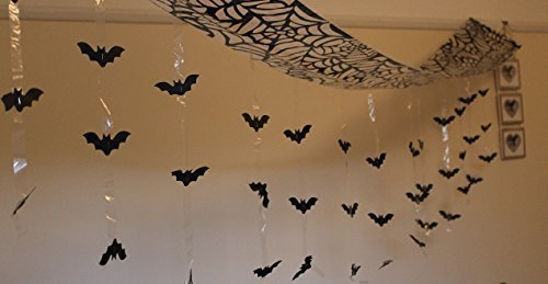 itp Halloween Bat Attack from Ceiling Foil Hanging Decoration, Black, 3 m x 30 cm