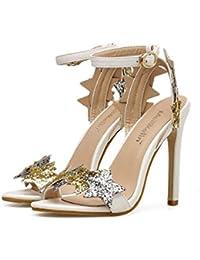 Pompe 10cm Stiletto bride à la cheville Sandales Bowkont chaussures de mariage femmes Open Toe D'orsay boucle de ceinture OL Court chaussures robe chaussures Roma chaussures Eu taille 34-40 ( Couleur mCX58fLG