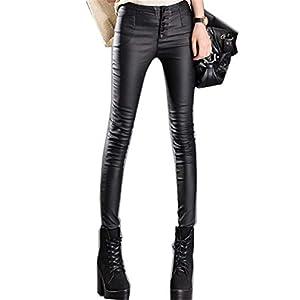 HHXWU Hosen Damen Hohe Taille Stretch Strumpfhosen Hosen Lederhosen Leggings