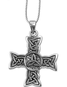 Anhänger Keltisches Kreuz Knotenwerk 925er Silber Schmuck Amulett Positive Entwicklung mit Kette Halskette Silberkette...