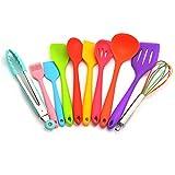 10pcs Silikon-Küche Utensilien, Küche Kochen Silikon-Wärmerückständigkeit Utensilien Non-Stick Backwerkzeug (Multicolor)