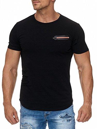 Herren T-Shirt Cut Out Risse Mesh Zipper Destroyed H1945 (2 Farben) Schwarz