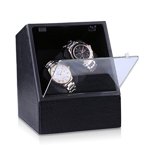 CRITIRON Coffret Watch Winder- Automatischer Uhrenbeweger aus PU-Leder für Zwei Uhren(2+0) Schwarz