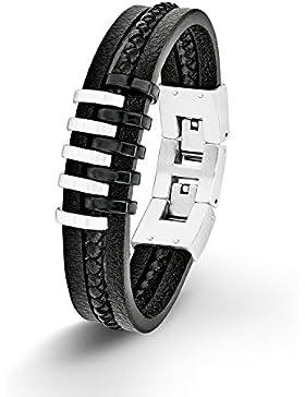 s.Oliver Herren-Armband Lederarmband 20+2 cm verstellbar Edelstahl IB Black Bicolor Leder schwarz