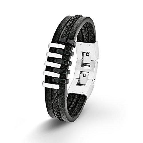 S.Oliver Herren Armband Lederarmband Edelstahl IB BlackBicolor Leder 20+2 cm schwarz