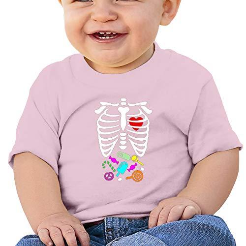 QingH Halloween Skeleton Rib Cage X-ray Candy Baby Short Sleeve T-Shirt Pink 12M Rosa Rib-infant Bodysuit
