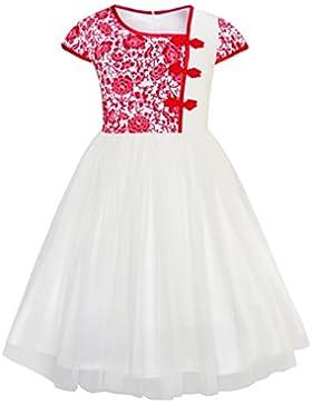 Sunny Fashion Vestido para niña Vintage Color Bloquear Gorra Manga Cumpleaños Fiesta 4-12 años