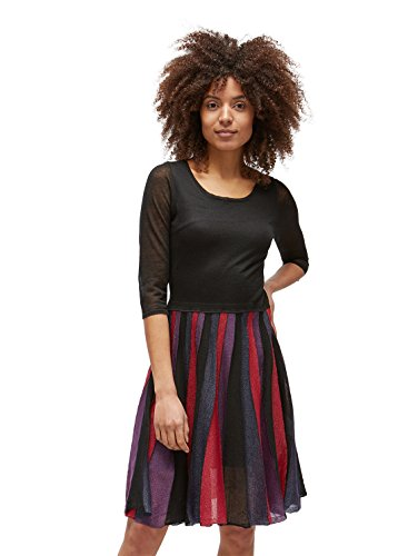 TOM TAILOR für Frauen Kleider & Jumpsuits Naomi Campbell: Strickkleid mit Faltenrock Black, 40