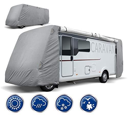 ECD Germany Schutzhülle für Wohnmobile - Größe XL 870 x 235 x 275 cm - Atmungsaktive Integrierte Abdeckplane Ganzgarage Schutzhaube für Reisemobile Campingmobile Wohnwagen