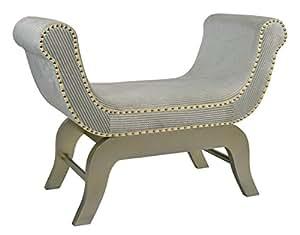ts-ideen Chaise longue Banquette Style maison de campagne MDF Design oriental Blanc