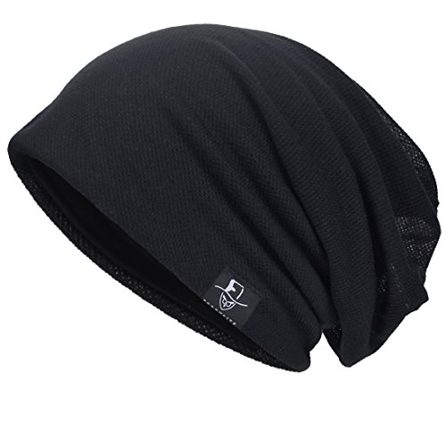 Herren Cool Slouch Mütze Dünne Sommer Schädel Hip-Hop Hüte (301-Schwarz) Mütze Schwarz Hut