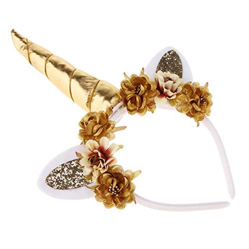 Baoblaze Einhorn Haarreif Haarband Stirnband Katzenohren Blumen Kopfbedeckung -