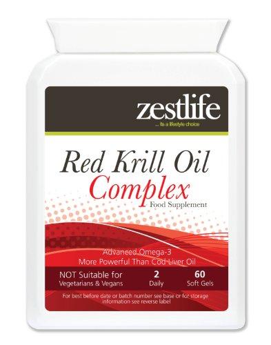 Zestlife RED KRILL COMPLEX OLIO | 60 gel molle Cap | sostenibile raccolto nelle profonde acque incontaminate del Antartico | salute comune | Cuore e salute cardiovascolare | Salute Antiossidante | La salute del cervello . Maggiore resistenza a superare altri integratori di krill sul mercato .