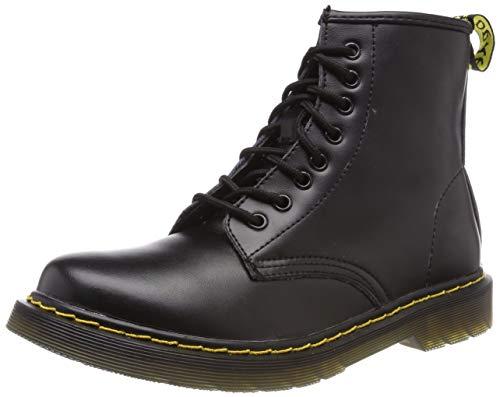 Botas de Mujer Impermeables Botines Hombre Invierno Zapatos Nieve Piel Forradas Calientes Planas Combate Militares Boots,Negro 38