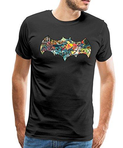 s Batman Robin Bat Symbol Kampfszenen Männer Premium T-Shirt, 5XL, Schwarz (Super Helden Robin)