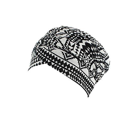 URSING Turban Damen Kappe Muslima Kopftuch für Haarausfall Krebs Chemo Haarausfall Make up Gestreifte Kopfbedeckung Kopftuch Set Sommer Elegant Bandana Retro Kopftücher Sommerhut (B)