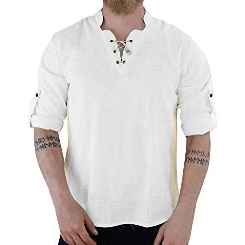 Luckycat Herren Leinen Langarm Shirt mit Knopfleiste Henley Tunika Hemd Regular fit Leinenhemd Herren Henley Shirt Herren Freizeithemden Herren Kurzarm & Langarm Hemd Herren Leinen Shirt