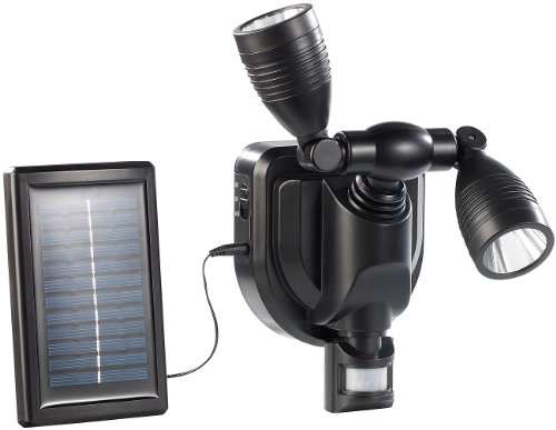 Lunartec aussenwandstrahler: Duo Solar Außen Wand-Strahler CREE LEDs, 6 Watt, 250 lm, PIR, schwarz (LED Solar Bewegungsmelder)