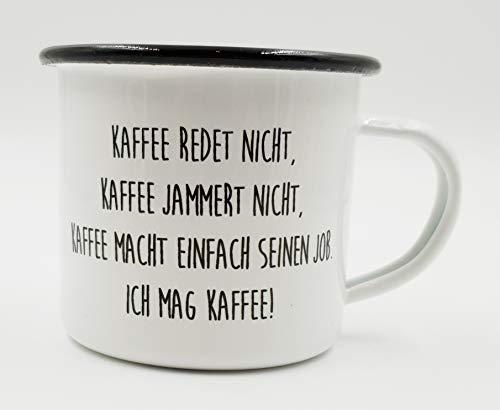 PICSonPAPER Emaille Tasse mit Spruch Kaffee redet Nicht, Geschenk, Edelstahl-Becher, Metall-Tasse,...
