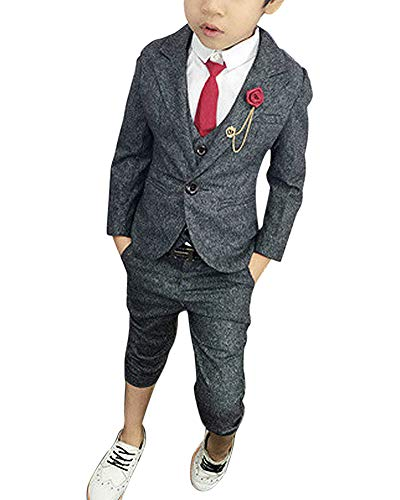 ShiFan 3 Teilig Kinder Anzug Jungen Festlich Kommunionsanzug Taufanzug Mit Gürtel Und Brosche Grau 140