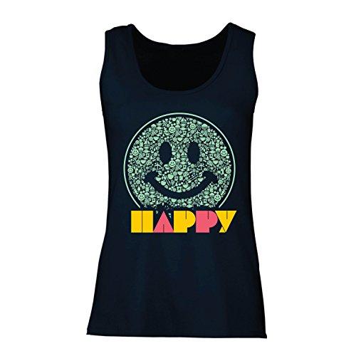 lepni.me Damen Tank-Top Emoji Wear - Inspirational Happy Emoticon Cute Smileys Face (XX-Large Blau Mehrfarben)