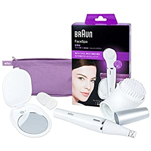 Braun FaceSpa 830 (Japan Edition) Facial Epilator and Facial Cleansing Brush Including Mirror and Beauty Pouch
