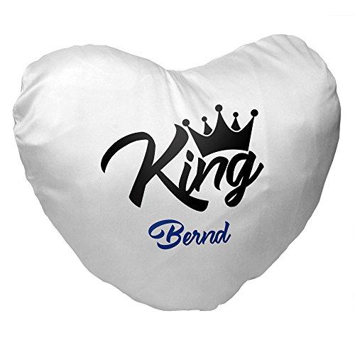 Herz-Kissen mit Namen Bernd und King-Motiv für Männer   Geschenk zum Valentinstag für Verliebte   Kuschelkissen 3