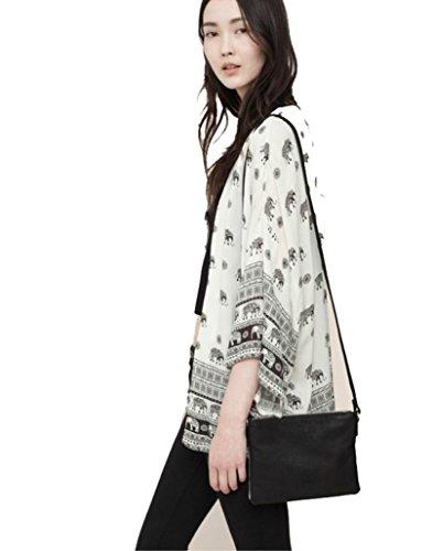 Malloom® Mujeres elefante Impreso media manga kimono Cardigan Tops blusa Outwear Chaqueta (L(EU38))