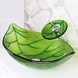 &zhou Hoja verde en forma de vidrio templado fregadero y cascada grifo, desagüe pop e instale el anillo de