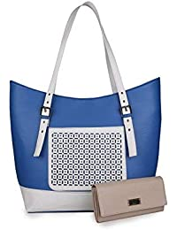 Women Marks Women's Shoulder Bag and Wallet (Blue&White, Combo of 2)