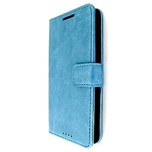Bracevor Turquoise Blue Leather Wallet Case for HTC One M7 Single Sim