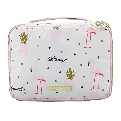 Kosmetiktasche Damen Make Up Etui/Pinsel Tasche für Handtasche Tragbare Reise Aufbewahrungstasche Toiletry Organizer Kosmetikbeutel mit Make up Pinsel Organizer (Flamingo-P)
