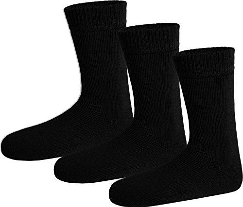 Polar Husky® 3 Paar Nie Wieder kalte Füße Wintersocken - super-dick und sehr warm Farbe Socken Schwarz Größe 43/46 -