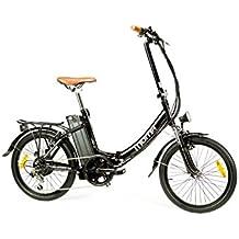 "Moma Bikes Bicicleta Eléctrica Plegable SHIMANO 7 vel. Aluminio, ruedas de 20"", Bateria Ion-Litio 36V 16Ah"