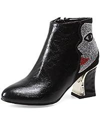 AgooLar Damen Knöchel Hohe Rein Hoher Absatz Blend-Materialien Rund Zehe Stiefel, Silber, 34
