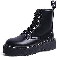 LIANGXIE Botas de Combate de Mujer Martin Boots Otoño e Invierno Zapatos de Mujer con Botas de Moto Botas de Plataforma de Mujer Botas de Plataforma (Color : Negro)