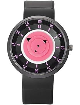 Harajuku Stil Unisex Quarz Armbanduhr für Jungen Mädchen (Rot Zifferblatt Ader und Graduierung, Schwarz Silikon...