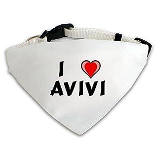 Personalisierter Weißer Hundschal mit Aufschrift Ich liebe Avivi (Vorname/Zuname/Spitzname)