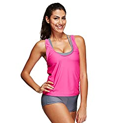 Women Swimwear, Amlaiworld Sexy Women Tankini Bikini Sets With Shorts Swimwear Three Piece Swimsuits (Xxxl, Hot Pink)