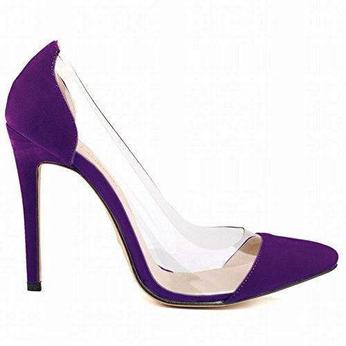 L@YC Donne a Punta Tacchi alti Flanella Fine Con La Bocca Superficiale abito Da Sposa Scarpe Purple
