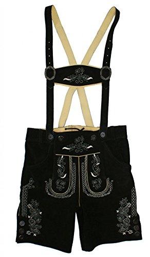Gr.48 Trachtenlederhose Plattlerhose Lederhose mit Träger schwarz kurz Stickerei