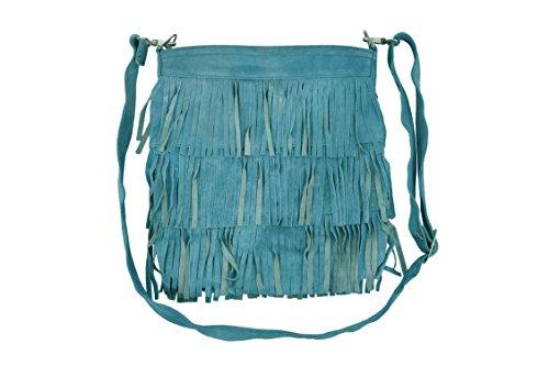 Neu Damen 2021 Messenger Bag Quastenfransen Kreuzkörper Frau Schulter Handtasche Echtes Wildleder Sky Blue