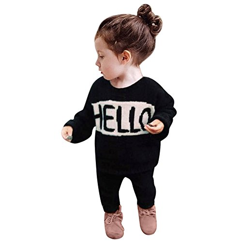La Cabina Bébé Fille Garçon Ensemble de Sweat-shirt Jogging en 2 PCS T-Shirt Tops + Pantalon (100(3-4ans))
