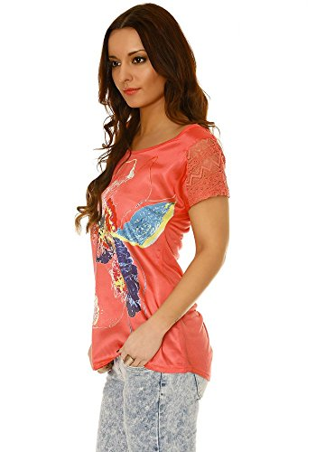dmarkevous - Tee shirt fluide, matière satinée sur le devant, avec imprimé fleur en couleur Corail