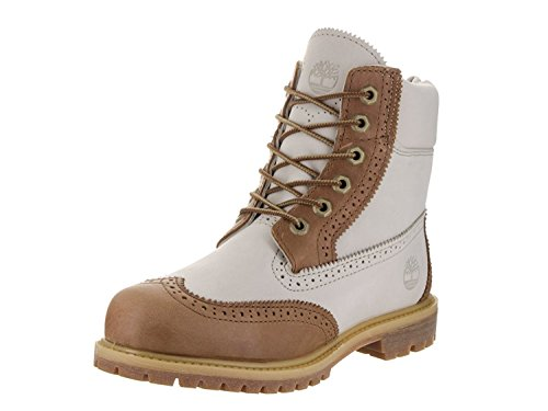Timberland Women's 6 inch Premium Brogue Tan/Off White Boot 6 Women US