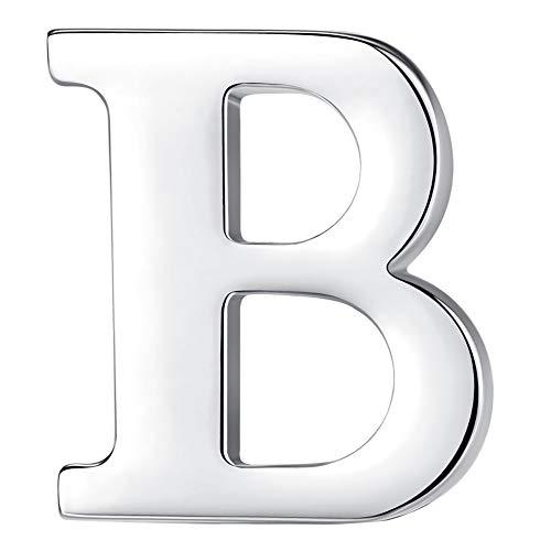 HONEY BEAR 1 Stück Buchstaben Brief Broschen Pins A bis Z, Edelstahl für Herren/Damen Anzug Hemd, Geschäft Hochzeit Geschenk,Silber,MEHRWEG (B 0.59inches)